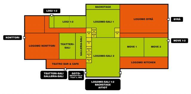 Turku Jazz Festivalin tapahtumapaikkana toimivat Teatro, Galleria ja Teatro-sali (kartassa Teatteri-sali). Sisäänkäynti Teatron ovesta.