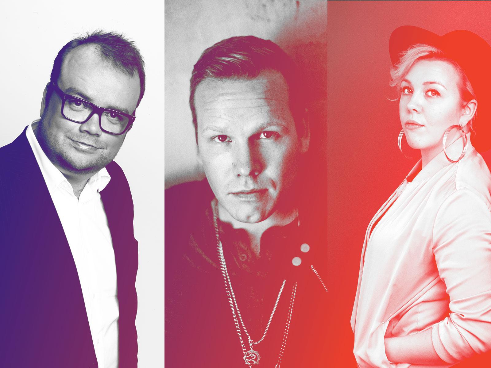 Sami Pitkämö, Osmo Ikonen ja Heini Ikonen tarjoilevat risteily-yleisölle Earth, Wind & Firen hittikimaran.